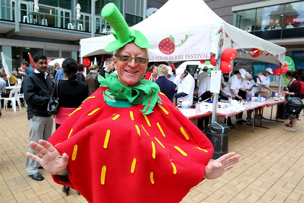 Hospice volunteer Ed Jenner, aka Juicy the Strawberry, dresses up for the occasion.