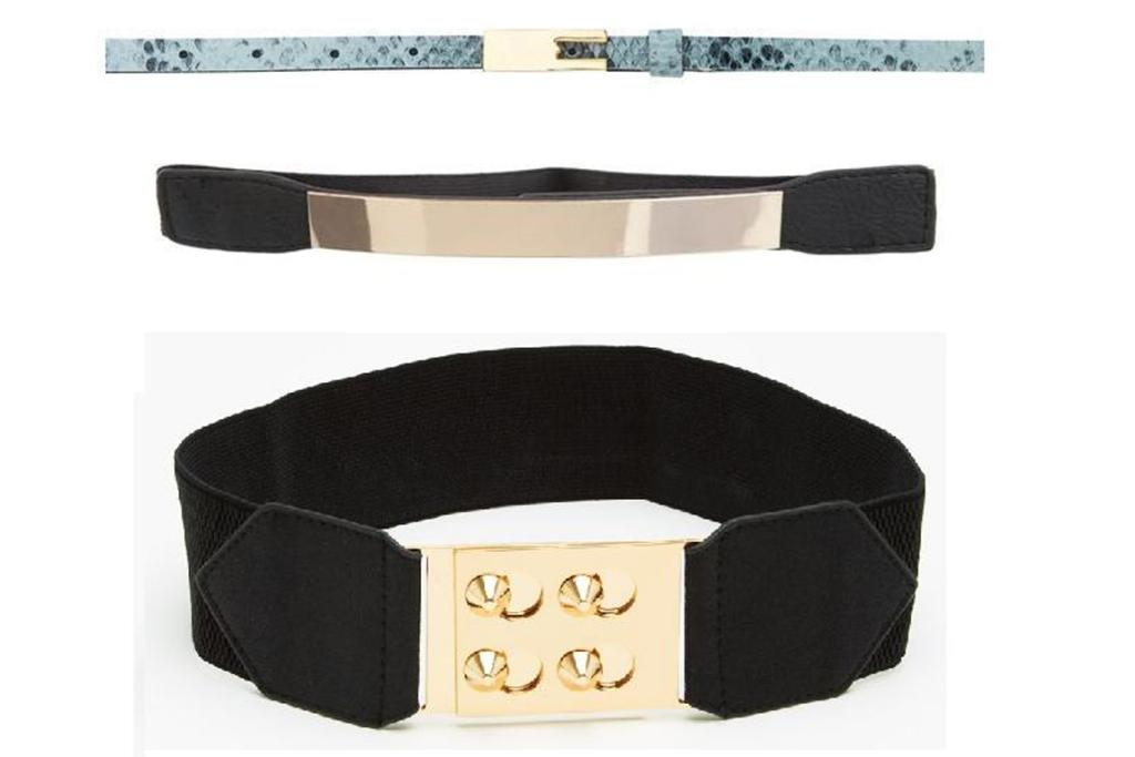 Steal: Liam belt, $10 from Ruby; Lushous belt, $24.94 from Theiconic.com.au; and metal belt, $24.95 from Glassons.