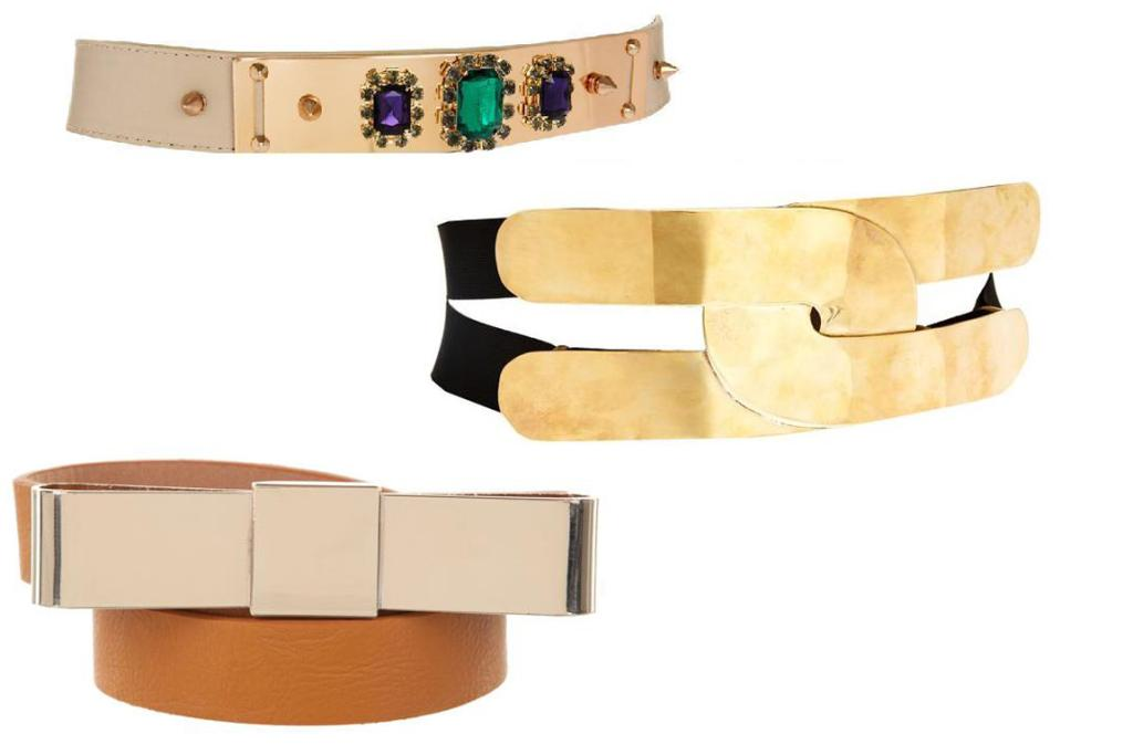 Spend: Jewelled belt, $22 and wide gold link belt, $42, both from Asos; Geena Wong belt, $64.95 from Theiconic.com.au.