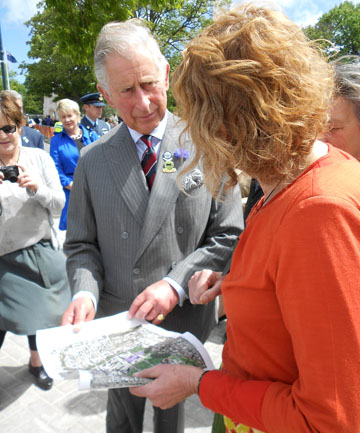 INTERESTED: Prince Charles discusses the rebuild of Christchurch with landscape architect Di Lucas during a recent visit to the city.