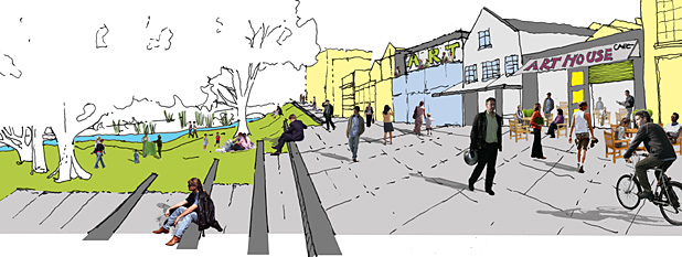 An early design opportunity sketch for the Invercargill CBD by Pocock design:environment, showing the type  of links with green spaces it would like to create.
