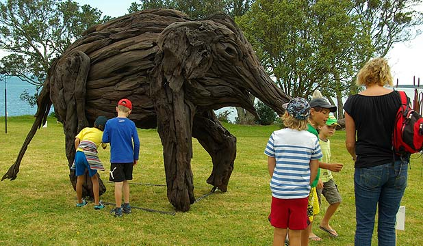 Kashin's here: A 3.5 metre high driftwood sculpture of the Auckland Zoo's late Kashin the elephant is on display at the Albany Toyota showroom.