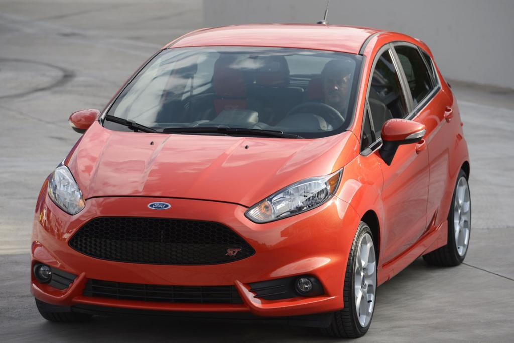 The 2014 Ford Fiesta is displayed during a news conference at the 2012 Los Angeles Auto Show in Los Angeles.