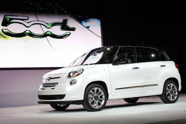 The 2013 Fiat 500L car is displayed at the 2012 Los Angeles Auto Show in Los Angeles.