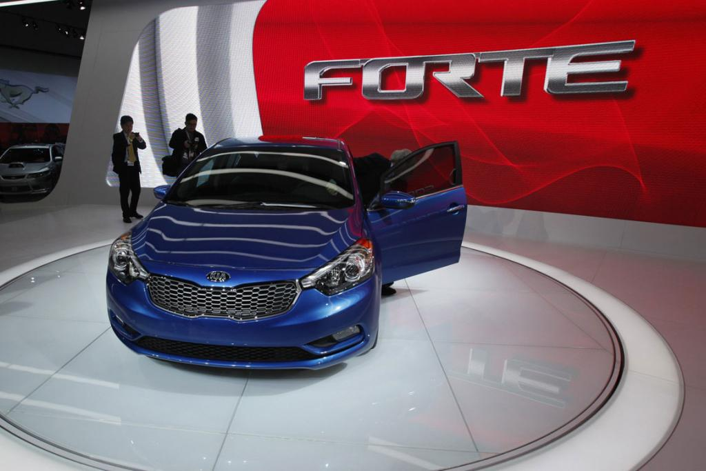 The 2014 Kia Forte is presented at the 2012 Los Angeles Auto Show in Los Angeles.