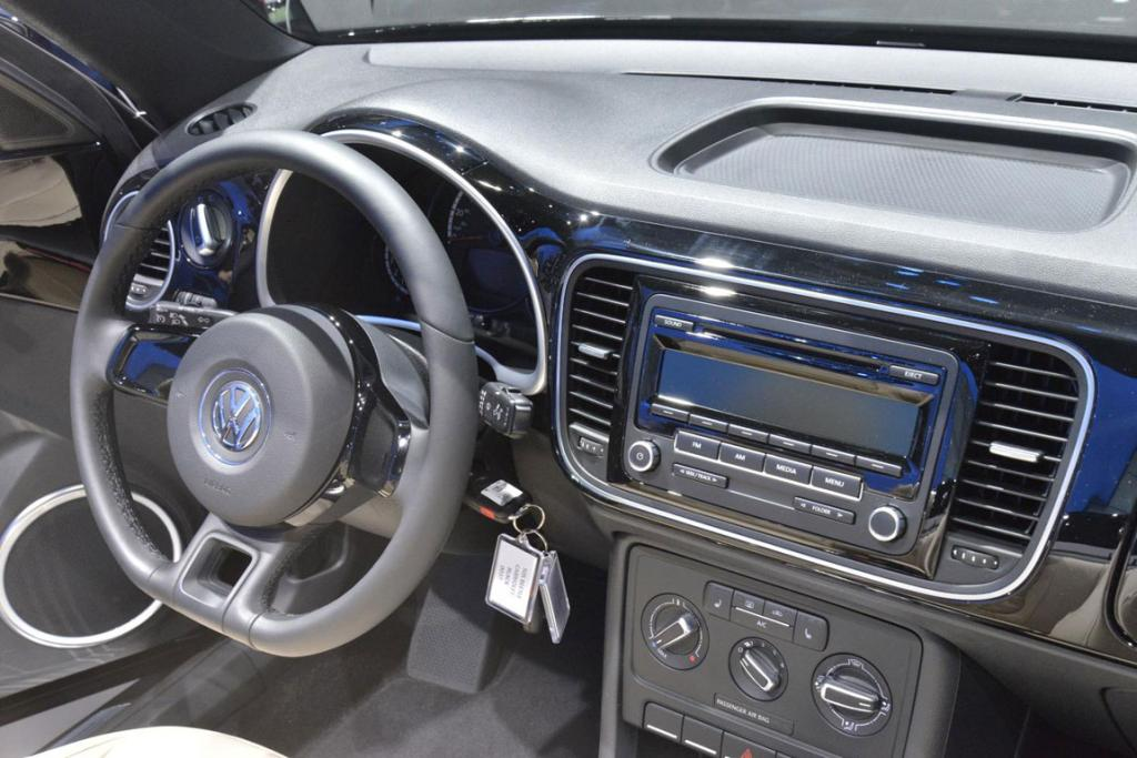 Inside the Volkswagen Beetle Cabriolet at the 2012 Los Angeles Auto Show in Los Angeles.