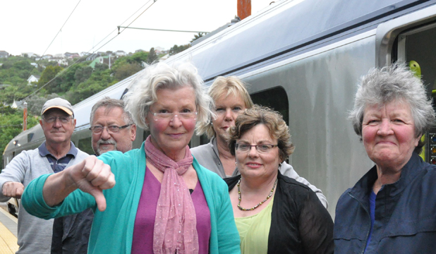 Fed up: Angry residents along the Johnsonville line. From, Mike Hearps, Robert Heinrich, Doris Heinrich, Wilma Sherwin Robyn Radomski and Margaret Heaps.