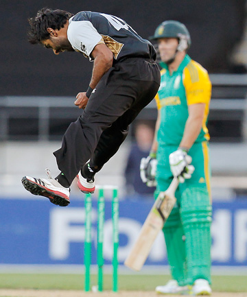 JUMPING FOR JOY: Ronnie Hira in action for the Black Caps.