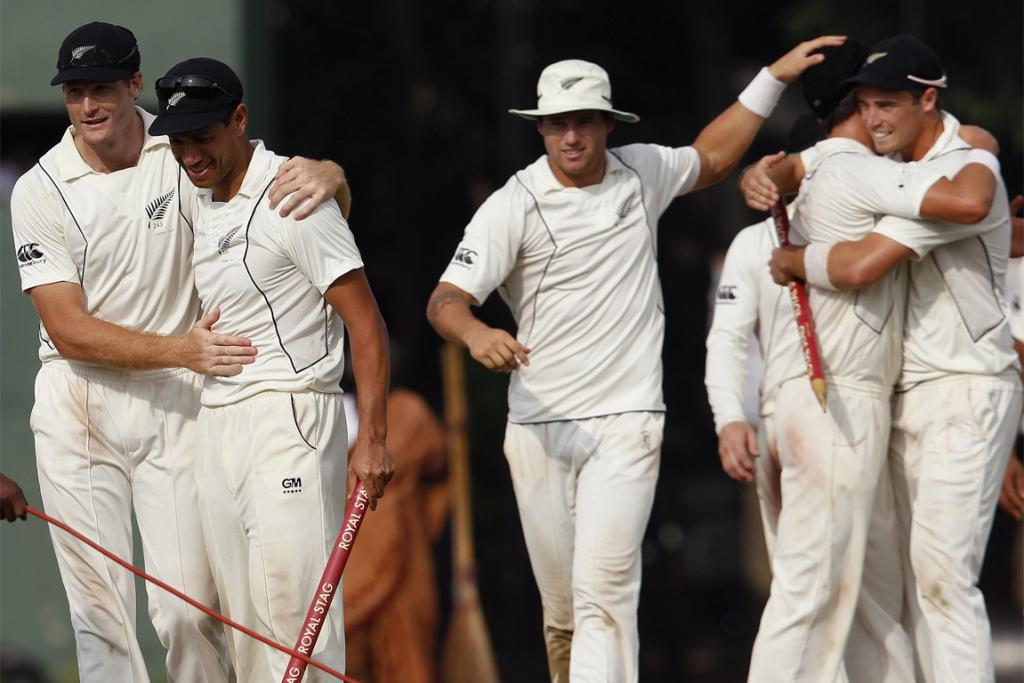 The Black Caps celebrate after winning the second test against Sri Lanka in Colombo.