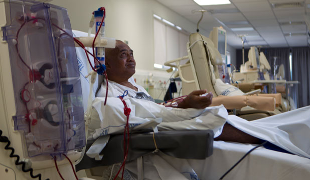 BRAND NEW: Henry Maui, 50, will be spending six hours a day, three days a week, getting dialysis at Waikato Hospital's new renal centre, which officially opened today