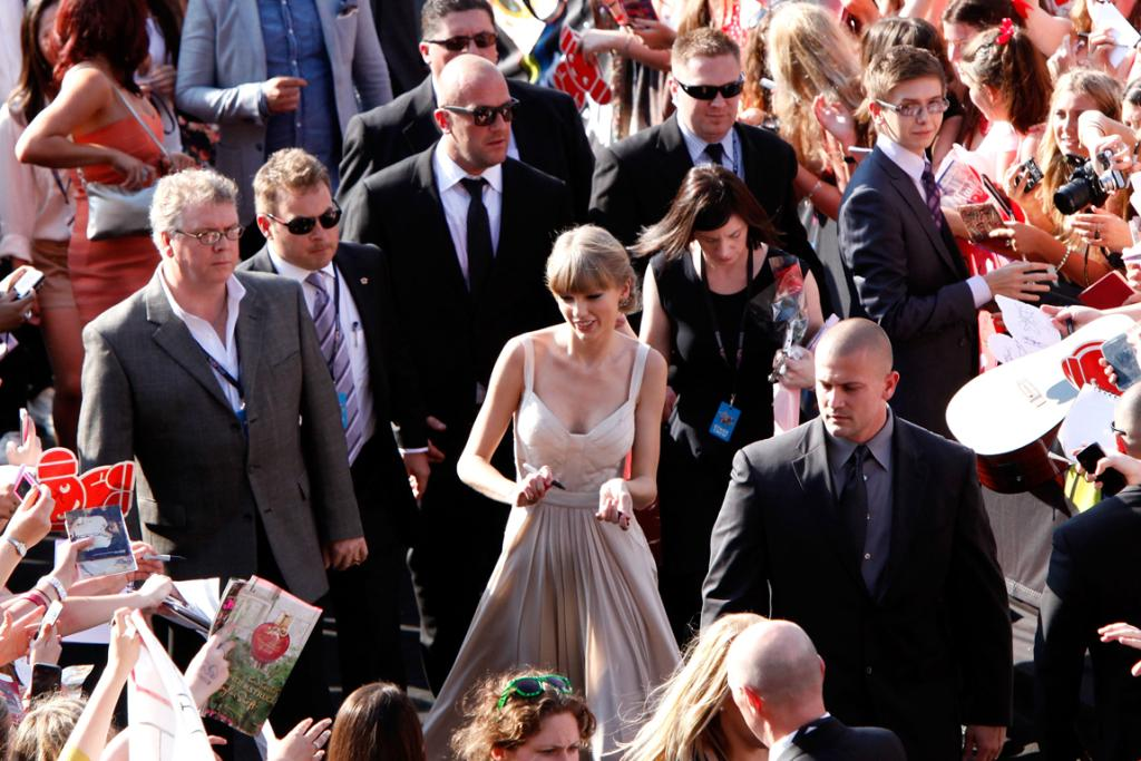 And the main attraction - Taylor Swift. Who was mobbed on her way in.