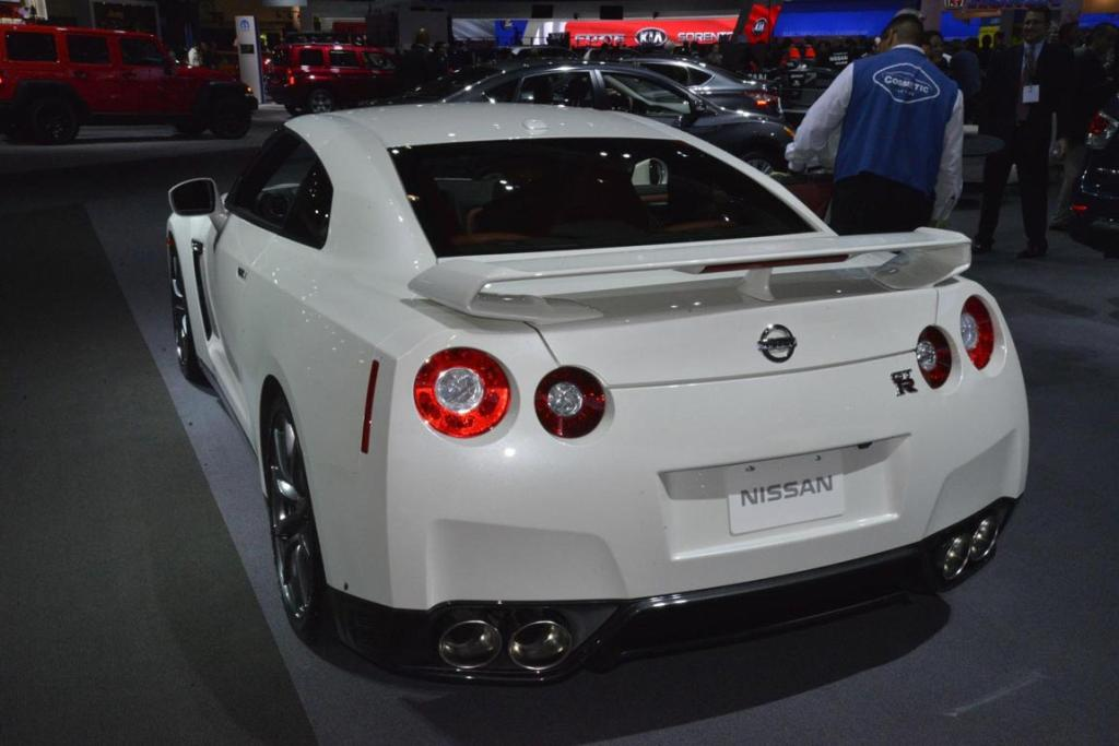A Nissan GT-R on display at the 2012 Los Angeles Motor Show.