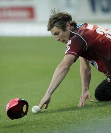RUN SAVER: Canterbury's George Worker prevents a boundary during the Twenty20 match against Northern Districts at Seddon Park in Hamilton last night.