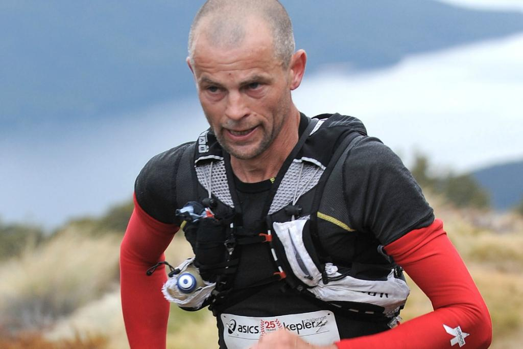 Englishman Martin Cox winning the King of the Mountain title at Mt Luxmore during the 2012 Kepler Challenge.
