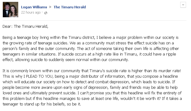 ONLINE PLEA: A letter from teenager Logan Campbell to The Timaru Herald has drawn a huge response from the community.