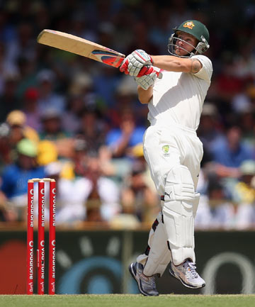 HITTING OUT: Matthew Wade's run-a-ball 60 before lunch has saved Australia from embarrassment in the third test in Perth.