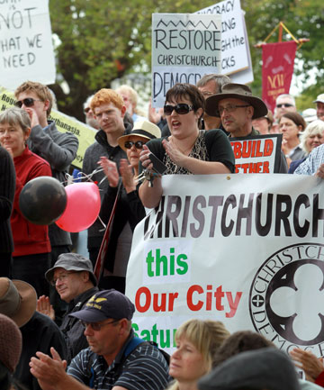PRO DEMOCRACY: About 1000 people gathered in Latimer Square, Christchurch, to protest against the government.