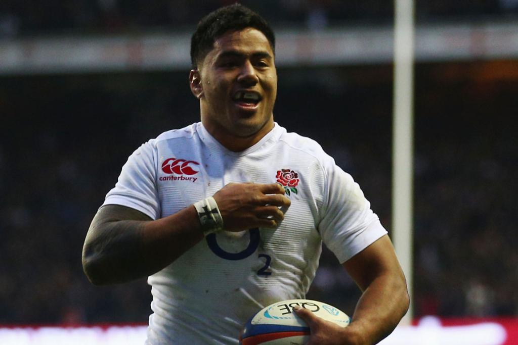 Manu Tuilagi of England celebrates a try.
