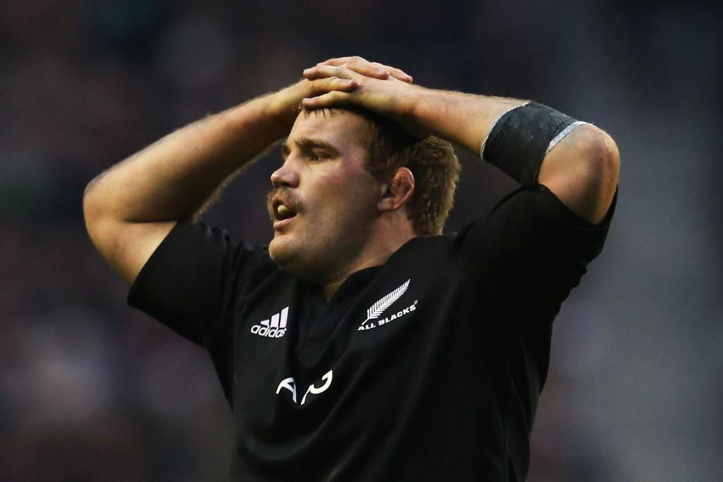 Owen Franks of New Zealand shows his dejection.