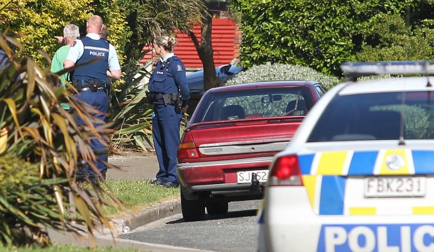 ON THE SCENE: Police at an Earn St, Invercargill house today.
