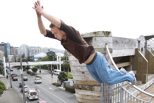 LEAP OF FAITH: Max Bell demonstrates some examples of parkour around Wellington.