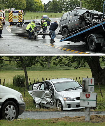 CARNAGE: One patient was taken to Waikato Hospital with moderate injuries after this crash at Tirau just after 4pm yesterday.