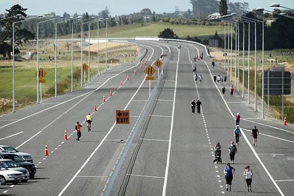 NEW ROAD: Runners and walkers christen the Te Rapa link in the Waikato Expressway.