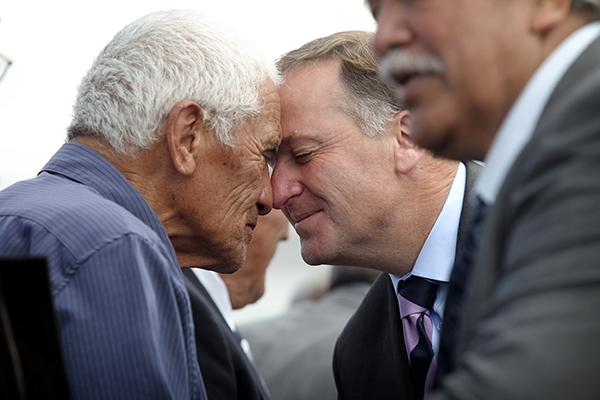 CONNECTION: Prime Minister John Key is welcomed at the opening ceremony.