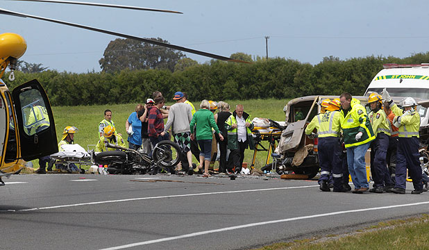 DEVASTATING: The scene on State Highway 3 after this van collided with  a group of motorcyclists killing two of them.