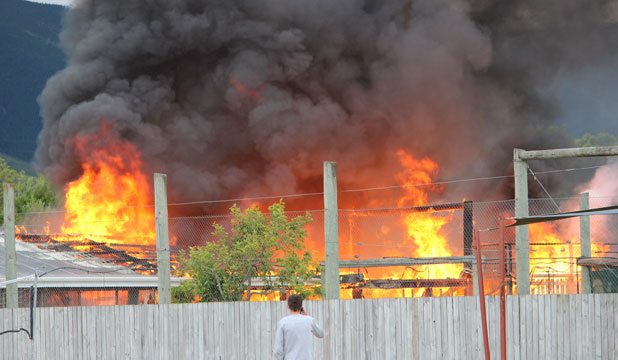 WELL ALIGHT: The fire service received multiple calls about this fire in the horticultural area of Nayland College.