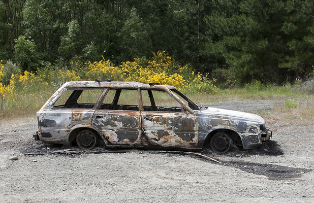 Burnt car landscape