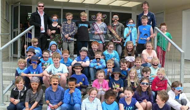 NEW MOS: Pupils at Bluestone Primary School show off their best homemade mos at their Movember mufti day last week.