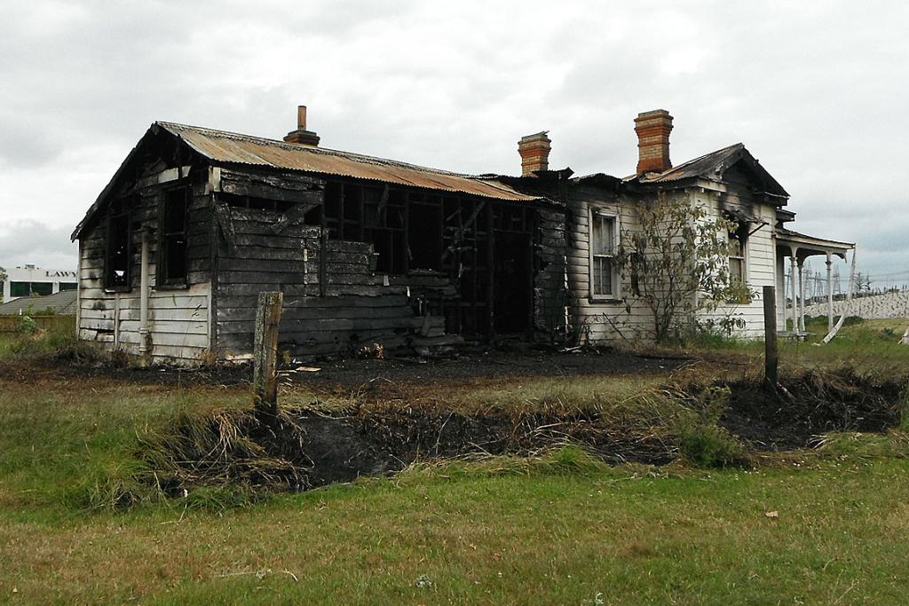 Howick's Guy homestead, damaged extensively by fire.