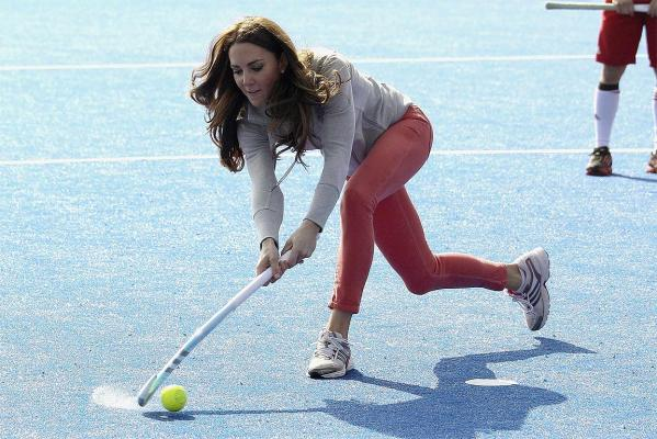 The Duchess of Cambridge plays hockey with the Team GB hockey teams at the Riverside Arena in the Olympic Park in London.