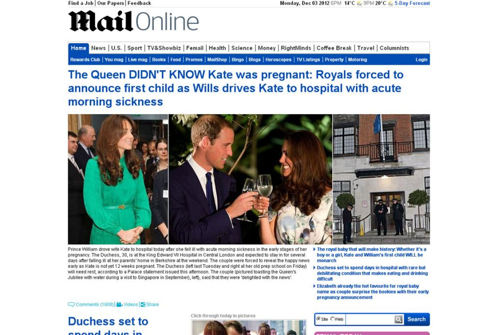 News websites announce Kate's pregnancy