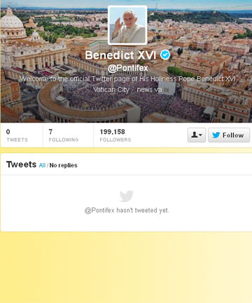 READY FOR ACTION: The Pope's Twitter page, ready for the first holy tweet.
