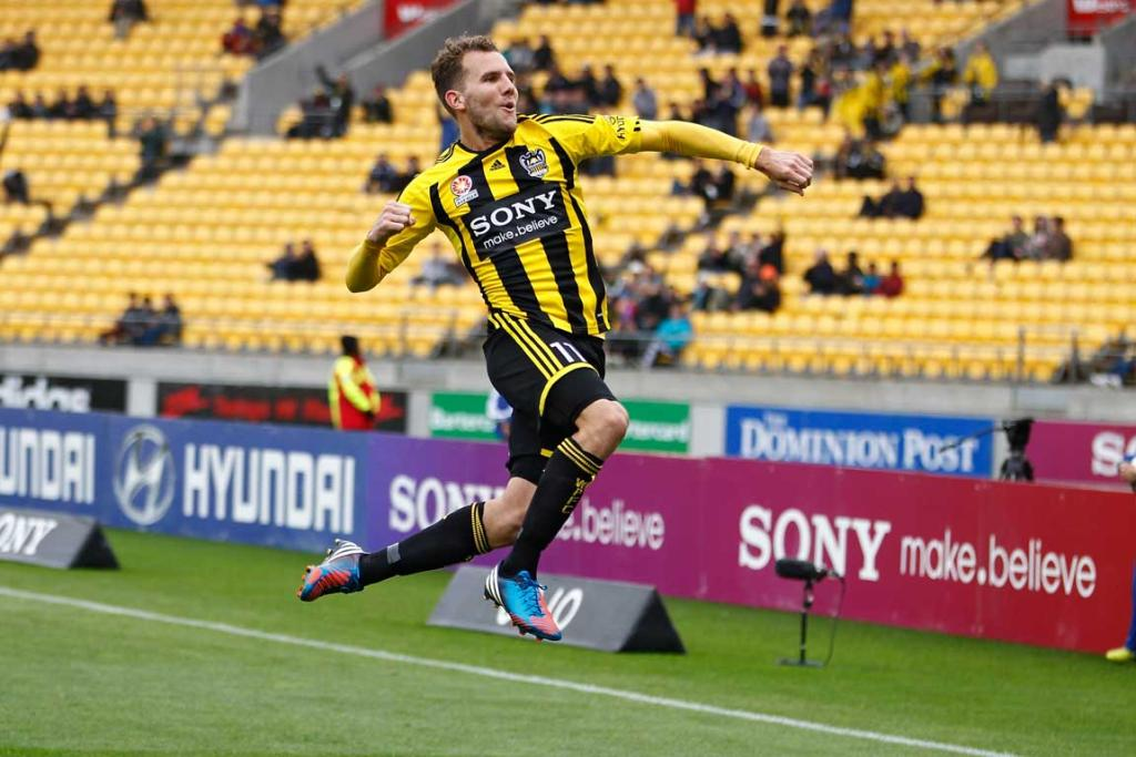 Jeremy Brockie of the Phoenix celebrates after scoring against Western Sydney.