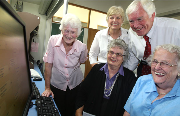 Helping out at the Family History Centre at the LDS Church on Pages Rd are (from left) volunteer Elizabeth White, director Janet Broomhall and volunteer Doreen Hudson, with team missionaries Vea Lynn and Ken Jarvis standing behind.