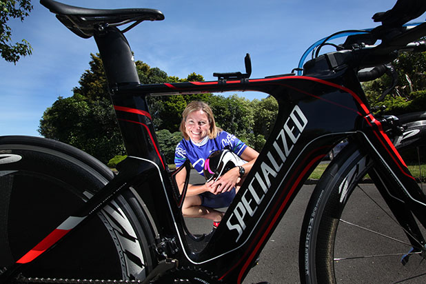 Megan Arthur is thrilled with her new racing bike, the Specialized Shiv TT.