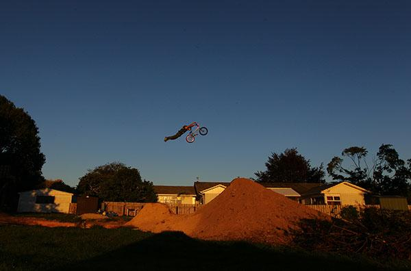 IN FLIGHT: Paul Langlands soars over a dirt jump on his BMX