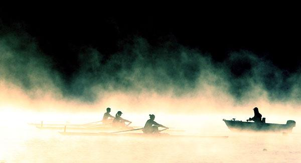 MORNING MIST: Olympic rowing teams head out from the high-performance centre at the Karapiro Domain.