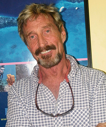 THE FUGITIVE: Millionaire software tycoon John McAfee claims he used a body double to escape Belize.