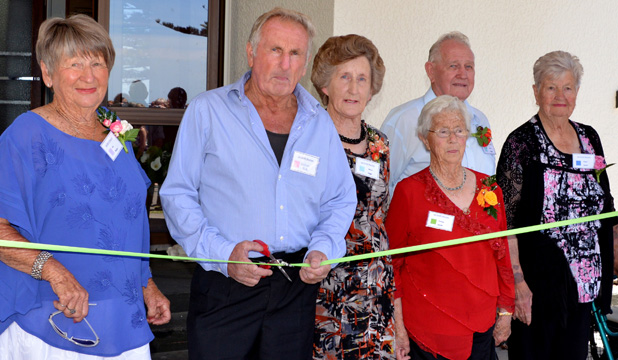 Momentous occasion: The official ribbon-cutting, from left, Jos Dippie, Graham Wade, Myra Higgs, Teresa Smith, Harry Higgs, Pearl Smith