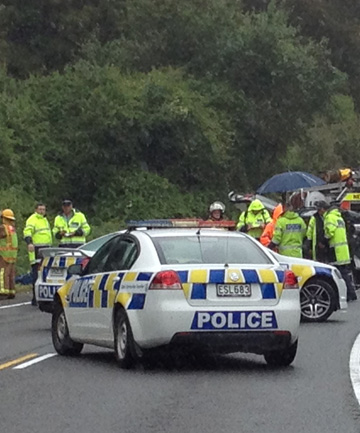 Police and emergency services at the site of a serious car crash at Pelorus Bridge which claimed two lives