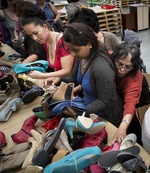 Hundreds of people battled to get clothes and shoes at the annual EziBuy distribution centre sale.