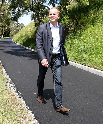 TIMELY MAINTENANCE: Mt Albert MP David Shearer takes a look at the newly sealed road that is part of the restoration work being done to Mt Albert.