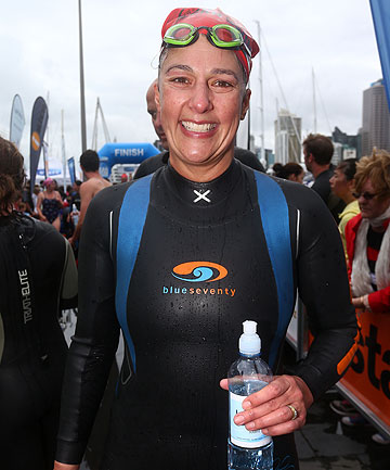 DIVING IN: Mother-of-four Kirsty Barclay took the plunge in the Auckland Harbour crossing on Sunday.