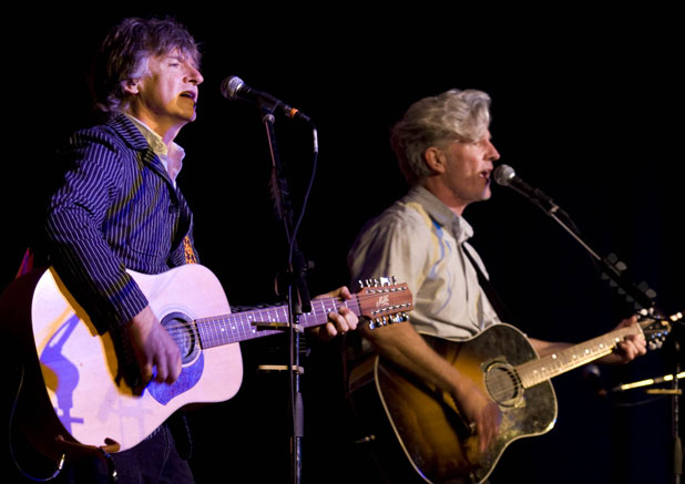 HOME SOON: Neil and Tim Finn during their 2008 concert in the Te Awamutu College Hall. They will give  a special charity gig in Hamilton this month.