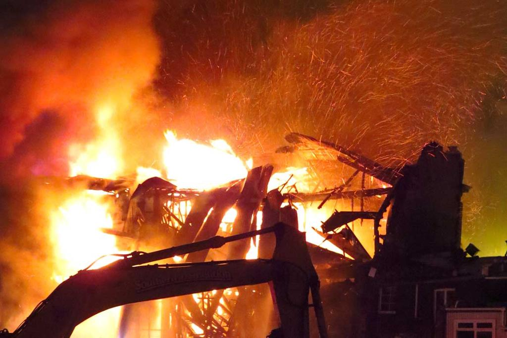SPARKS FLY: A massive fire in central Christchurch on Friday night.