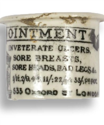 CURE ALL: An ointment jar that was found in the hidden room on Madras Street.